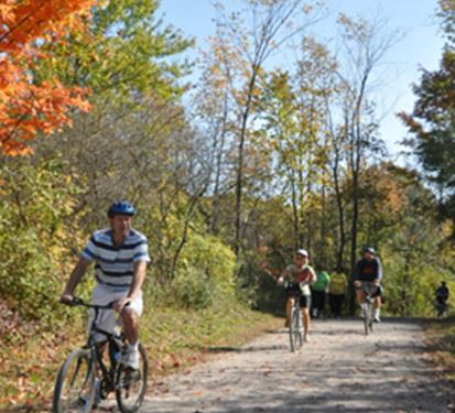 Three People Biking on a Trail