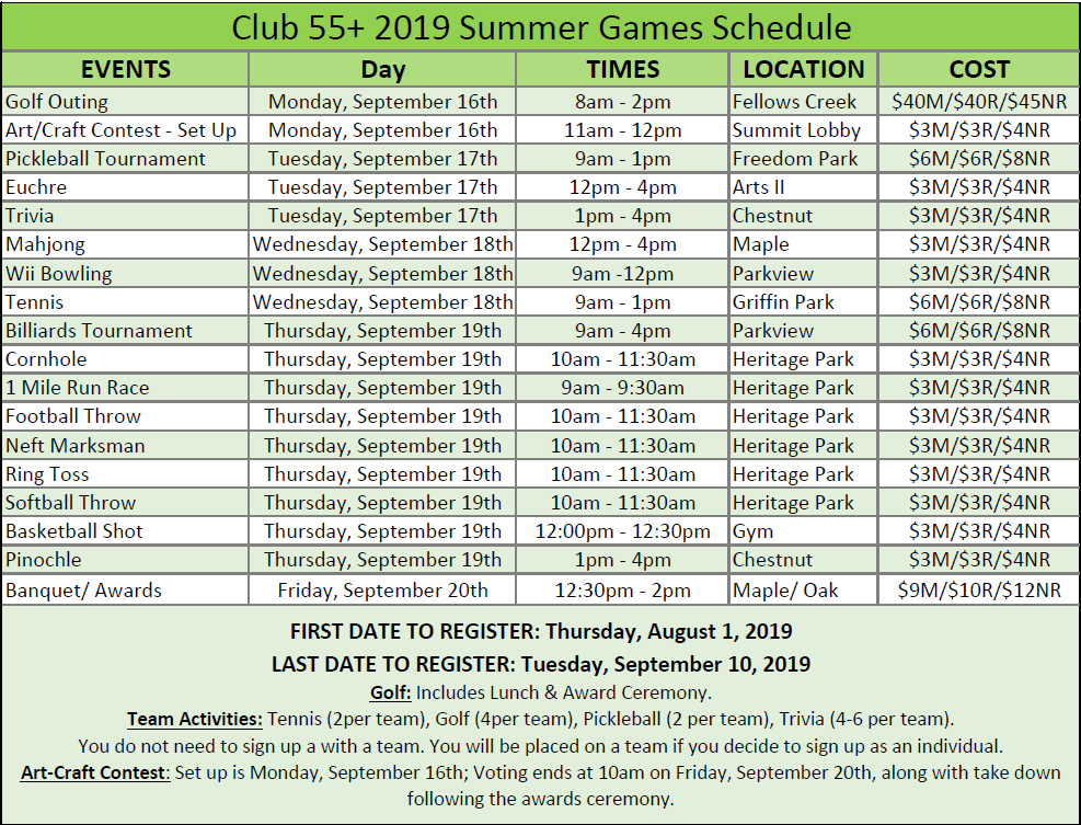 Canton Club 55+ Games 2019 event schedule